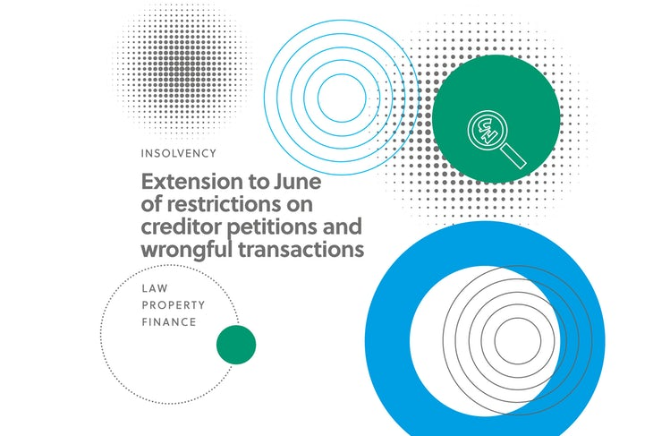 Extension to June of restructions on creditor petitions and wrongful transactions