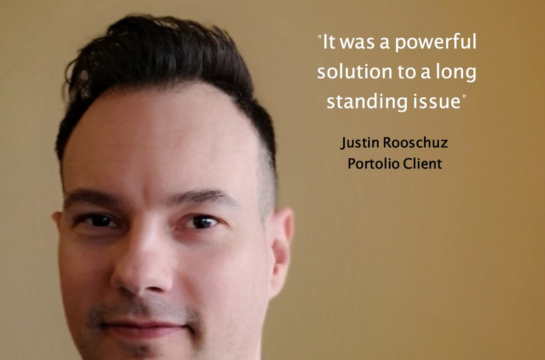 justin rooscuz portolio client with a quote -