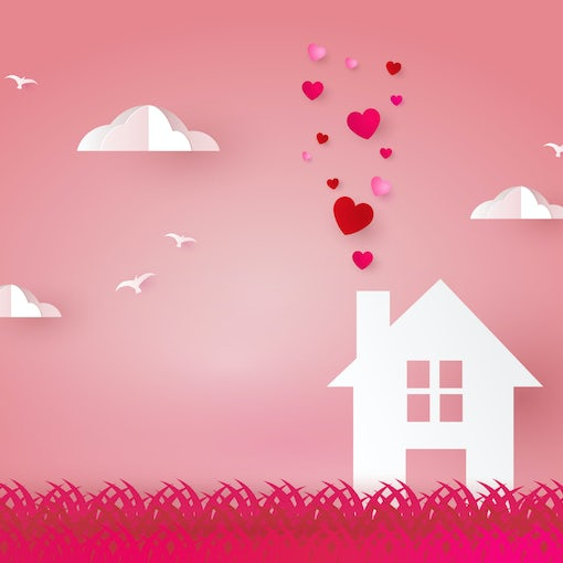 House with hearts. Happiness Loving House paper cut