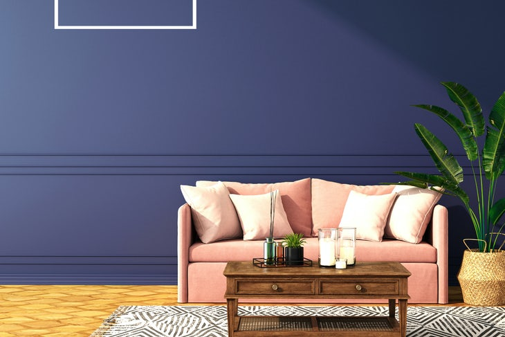 interior design for classic blue color trend 2020,3d rendering,3d illustration