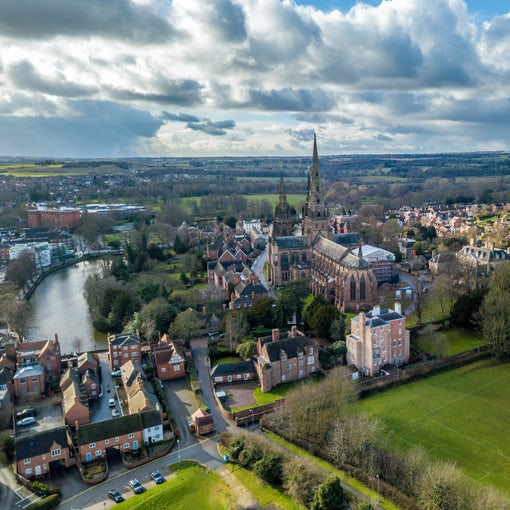 City of Lichfield with the Cathedral in the foreground