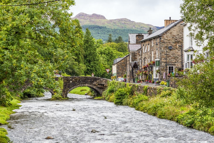 Beddgelert town in Snowdonia NP, Wales, UK